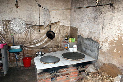 The kitchen in a typical orphan home.